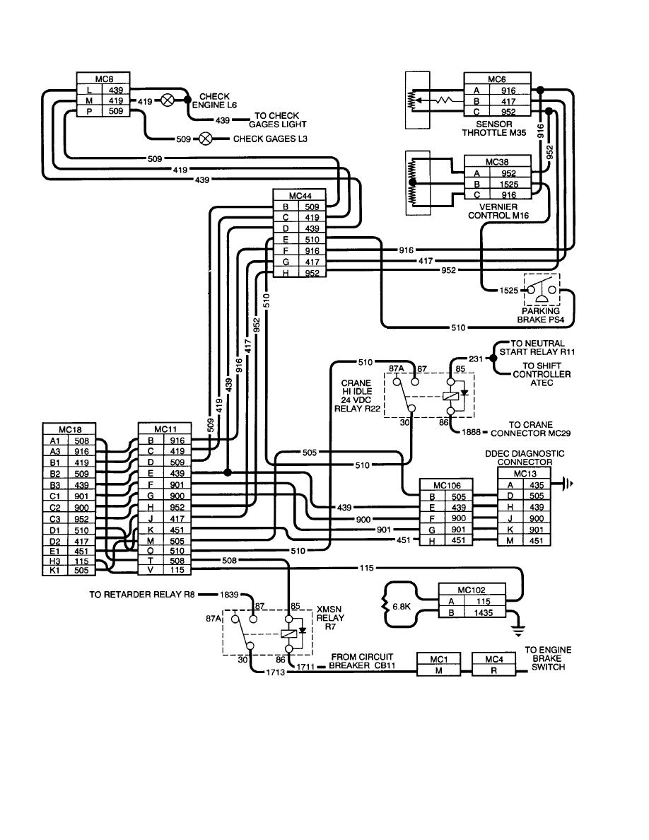 DDEC II Vehicle Harness Wiring Schematic